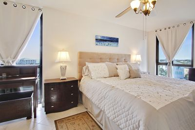 Master bedroom with peaks of the ocean