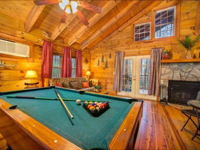 Photo for Dog-friendly log cabin w/ hot tub, in-room Jacuzzi, & bedside indoor waterfall