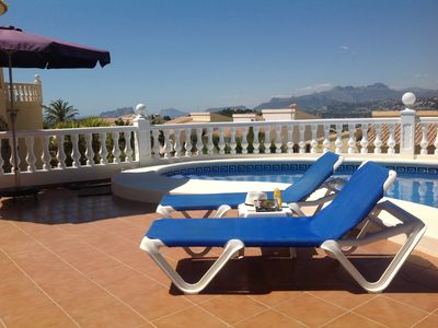 Photo for Lovely villa with pool, stunning views of sea and mountains. Wi-fi & AC included