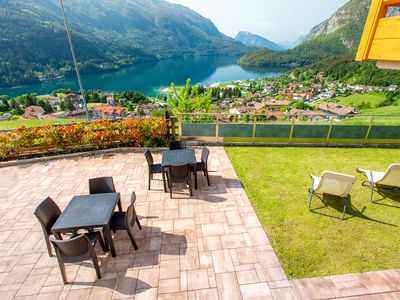 Photo for LODGE WITH AMAZING VIEW OF THE LAKE AND THE DOLOMITES