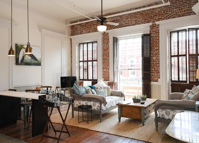 Beautiful downtown loft with hardwood floors and exposed brick w