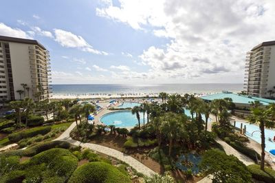Fisheye View from our 4th floor balcony overlooking The Lagoon Pool & beach