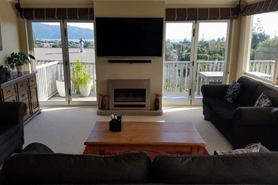Lounge with gas fire, internet TV and Netflix