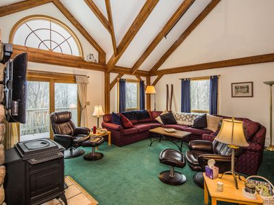 Photo for Viewmont Chalet is a wonderful post and beam house with an outdoor hot tub, pool table and close to skiing.