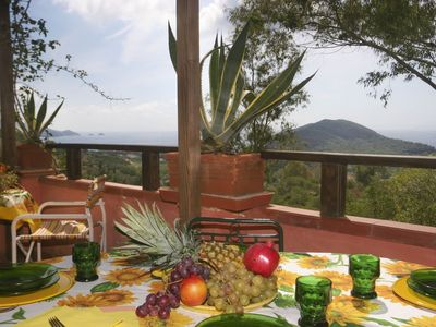 Photo for Three roomed apartment with stunning view near the long sandy beach of Lacona.
