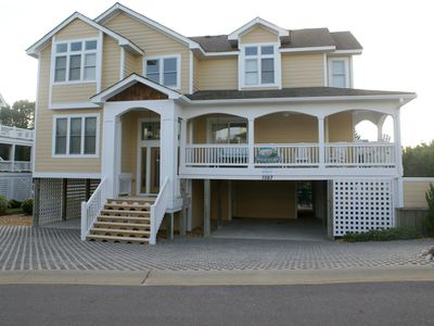 Photo for Oceanside ensuite 6 BR,4king in Corolla Light, Elevator,Tiki bar, dogs allowed,
