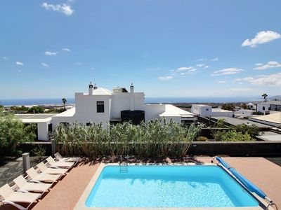 Photo for Luxury villa with private heated pool, WIFI, sea views and volcanoes