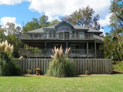 Photo for WATERFRONT- 5 BRs (3 Masters), Private Pool, Hot Tub, Dock, Comm Tennis
