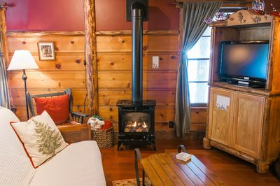 Enjoy the evening by a sweet potbelly stove