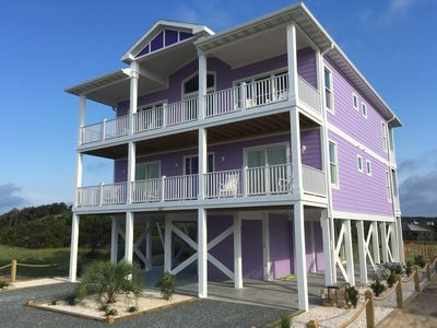 Front View of East End Oasis- covered porches with perfect ocean views