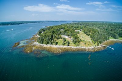 Aerial view of the home at the tip of Howard Point.