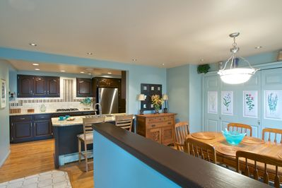 Gourmet kitchen with granite counter tops and stainless steel appliances.