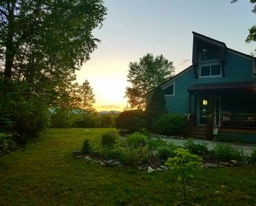 The sunset makes a beautiful backdrop for our cottage.