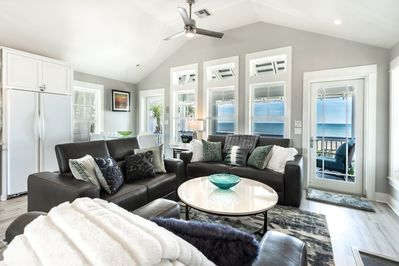 Gulf View from Main Living with Leather Sofas and Love Seats