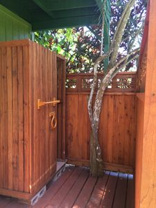 This outdoor shower is PERFECT for rinsing off after the beach.