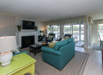 Living Room with Flat Screen at 16 Lands End Court
