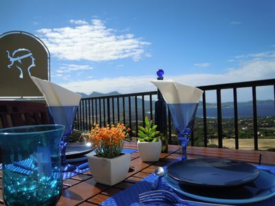 Photo for Beautiful air-conditioned studio 26m² + 16m² terrace overlooking the Bay of Calvi