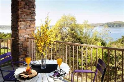 A view from an upper level deck at one of our 2 bedroom condos.   All of our condos here have full 180 degree views of the beautiful lake and shore.