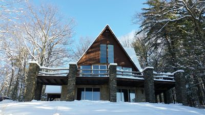 Exterior of the Rye Chalet in winter before we replaced the railings.