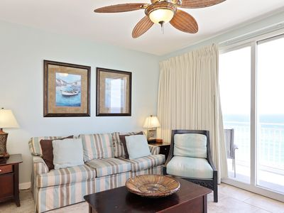 Photo for Gulf-front condo w/ free beach service & shared pools/hot tub/lazy river/gym!