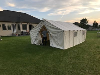 Photo for Spacious 21 ft x 15 ft family-size canvas tent (brand new) in huge back yard