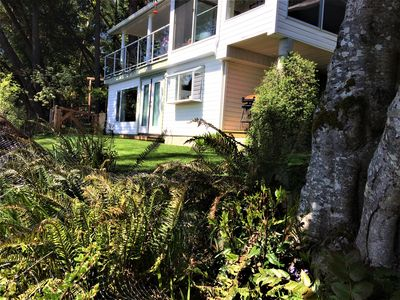 Photo for Beach front studio on Maple Bay, steps away to your own private beach patio