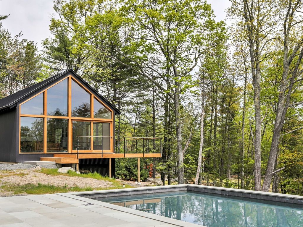Modern kerhonkson home w pool on 12 private acres