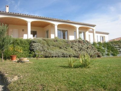 Photo for Beautiful house, panoramic view over vineyards and Pyrenees,  nearby Carcassonne