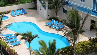 Photo for Quiet sea-views condo with balcony, on 2 floors, with pool/internet/cable TV/ AC