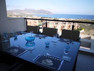 Photo for Penthouse Garden Apartment with stunning terrace views over the Bay Of Mazarron