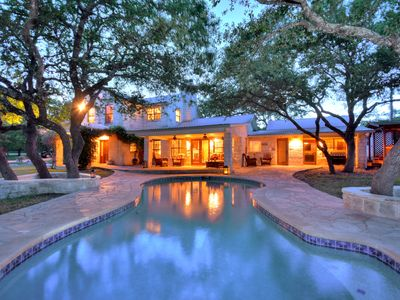 Photo for Hill Country Home Sleeps 30+. Game Rm, Pool & Hot Tub. A few summer days left !!