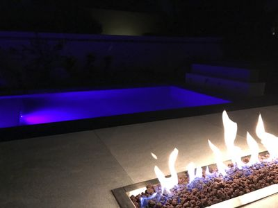 Pool and fire at night