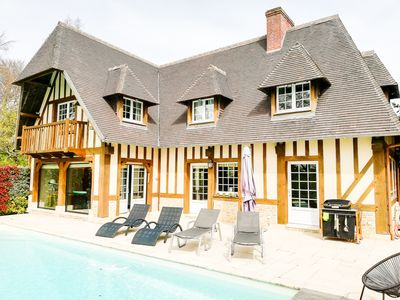 Photo for Deauville - Beautiful house in private residence, heated pool, sea view