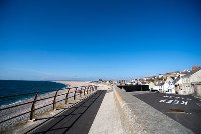 the seawall on Chesil Beach