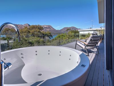 Photo for Specifically designed for luxury, outdoor bath on balcony, wood fire & wifi.