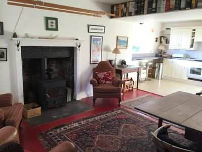 Cosy shepherd's cottage with large lived in kitchen with log burner.