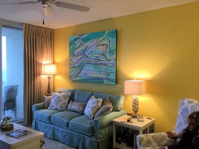 "Living room boasts ""Angels Float"" by world renowned artist Susan McCollough"