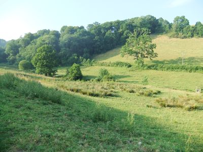 The valley leading to Cowslip Cottage
