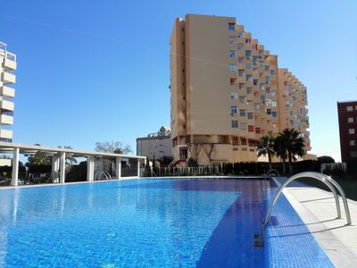 Photo for Studio in first sea line with sea views and pool in Calpe