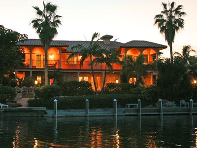 View of Casa del Sol from the water at dusk.