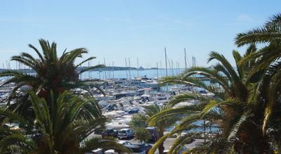 Photo for 25mq Studio facing the touristic port of Golfe Juan, terrace and sea view.