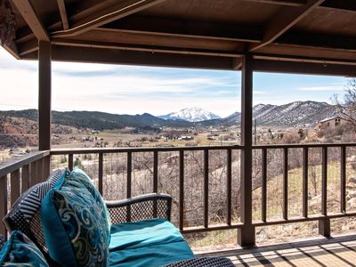 Photo for Hillside Cabin With Wrap Around Porch and Incredible Mountain Views, Near Skiing