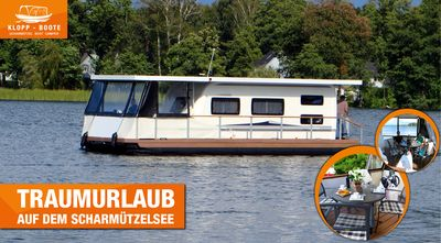 Photo for Licence free house boating + luxury camper on the water + SKIRMISH SEE
