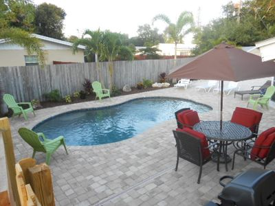 Patio area where you can grill and relax by the heated pool.