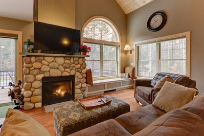 Cozy up to the gas fireplace