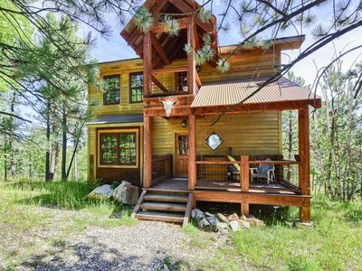 Photo for Modern Rustic 4 BR Black Hills Sanctuary with hot tub and Shared Heated Pool!