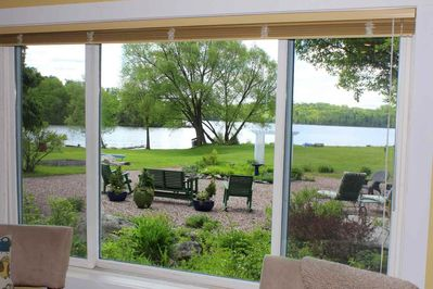 The Lake Room faces south and you can enjoy the flowers and a view of the waterfront.
