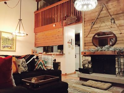 Classic Tahoe style condo with wood burning fireplace and vaulted ceiling. COZY!