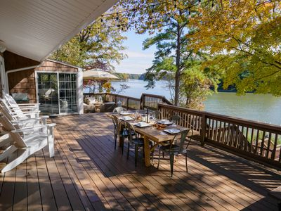 Photo for Lakefront White Sandy Beach, HUGE deck, BIG water views,2 Kayaks, New to VRBO.