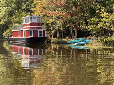 Photo for LUX Tugboat on Private Lake - 142 Wooded acres, 5+ miles Hiking/Biking trails
